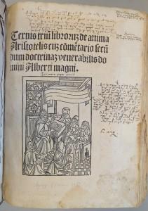 De Anima, Titelblatt einer Inkunabel aus dem 15. Jahrhundert