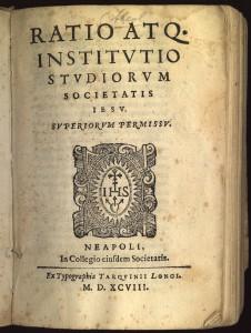 Titelblatt der Ratio Studiorum von 1599