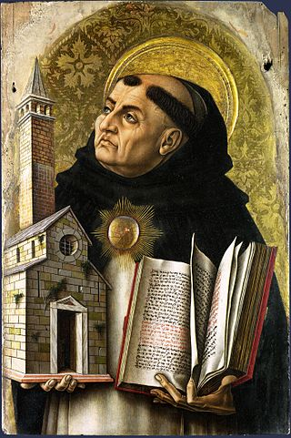 """St-thomas-aquinas"" von Carlo Crivelli (etwa 1435–etwa 1495) - http://www.nationalgallery.org.uk/paintings/carlo-crivelli-saint-thomas-aquinas. Lizenziert unter Gemeinfrei über Wikimedia Commons."