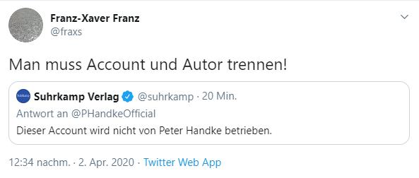 Tweet: Man muss Account und Autor trennen
